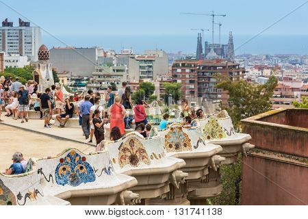 Tourists In Park Guell, Barcelona, Spain