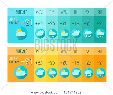 Weather Forecast. Weater Widget. Blue and Orange Colors. Vector Illustration