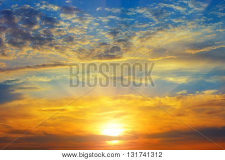 A beautiful sun rise and cloudy sky