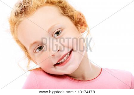 Portrait of a cute red-haired girl. Isolated over white background.