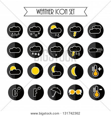 Weather Forecast Icon Set. Black Colors. Vector Illustration