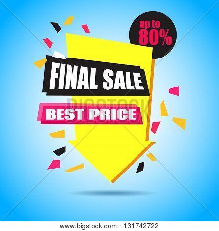 Final Sale Arrow Banner Design. Vector Sale Illustration for Promotional brochurebookletposter shopping flyer discount banner.