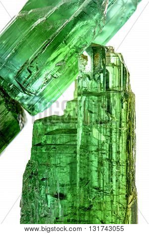 Green tourmaline crystals with their color texture and formation characteristics