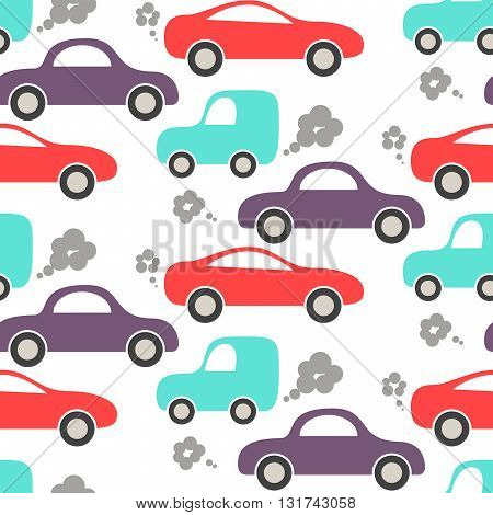 Car cute baby vector seamless pattern. Kid fabric and apparel design. Blue, purple and red cars on white.