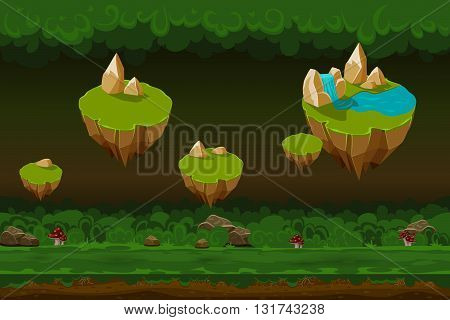 Night forest game background, seamless cartoon forest game landscapes with rock islands. Game forest seamless, cartoon  forest nature, level animation forest gui layer illustration