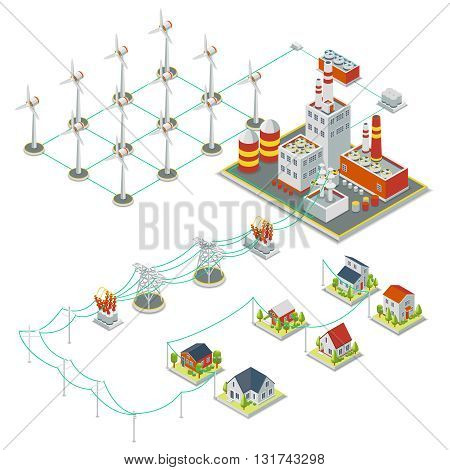 Windmil turbine power. 3D isometric clean energy concept. Power energy windmil, electricity windmill, turbine electric windmil illustration