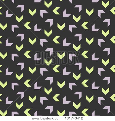 Abstract geometric shapes dark seamless pattern. Vintage geometry inspired seamless lilac and green on dark background.