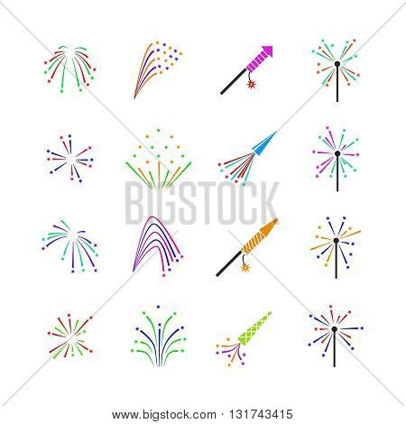 Color fireworks vector set. Firework event, firework pyrotechnic, carnival firework illustration