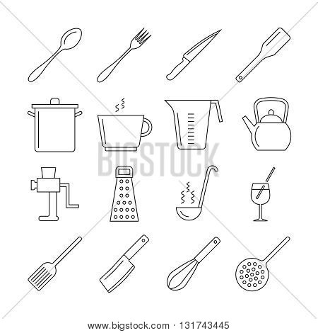 Cooking and kitchen tools line vector icons. Icon utensil kitchen tool, kitchen cooking, fork and knife kitchen, utensil kitchen illustration