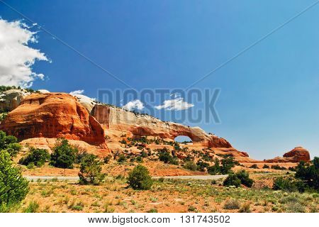 Beautiful view  in Arches canyon in sunny day. USA