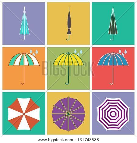Umbrella vector icons in flat style. Parasol protect, open umbrella, protective drop umbrella, umbrella illustration
