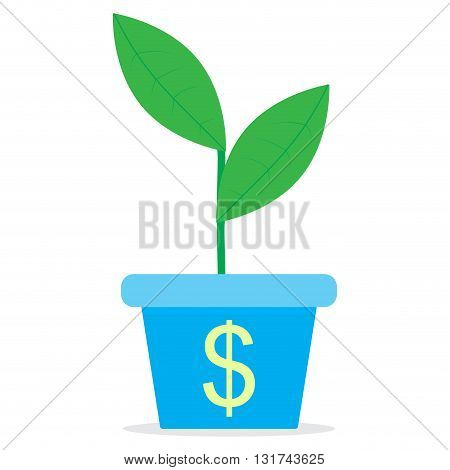 Growth of income. Sprout in a pot. Profit growth and income investment finance sprout plant in pot. Vector flat design illustration