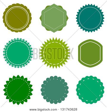 Eco, organic, natural vector blank green badges and labels set. Badge organic, green label organic, sticker eco organic, eco nature label illustration