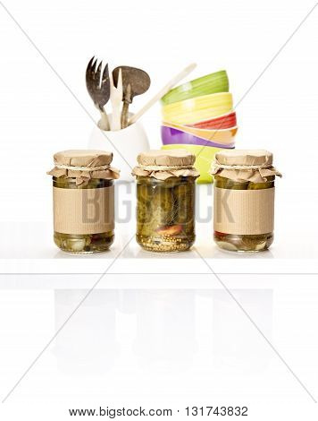 Pickles In Jars On The Kitchen Counter