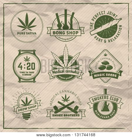 Set of vector marijuana smoking badges. Medical cannabis labels
