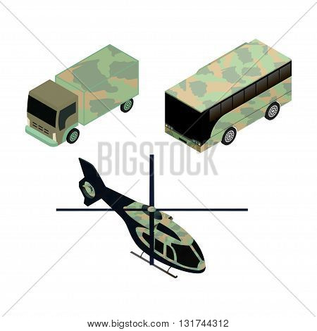 Isometric icons set of military vehicles for game design and infographics