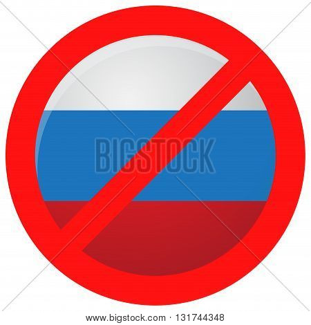 Russian ban icon isolated. Sanction and embargo interdiction import restriction and decision political vector illustration