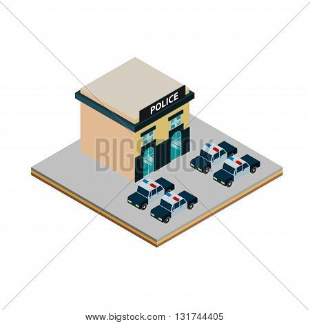 Isometric police station icon with police cars vector illustration