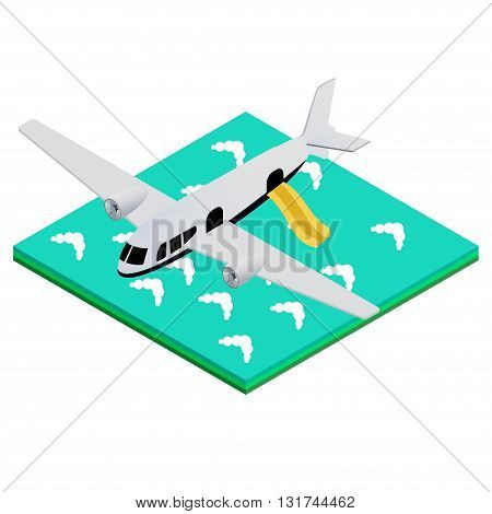 isometric vector illustration of an airplane landing on the water with a flat inflatable ladder. To obtain safety instructions