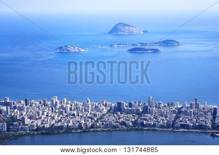 Aerial view of Ipanema district and Cagarras Islands in Rio de Janeiro, Brazil.