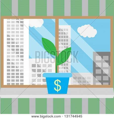 Growth of business start-up in good conditions. Growth concept business and growing business business success. Window frame and looking out window city view window. Vector illustration