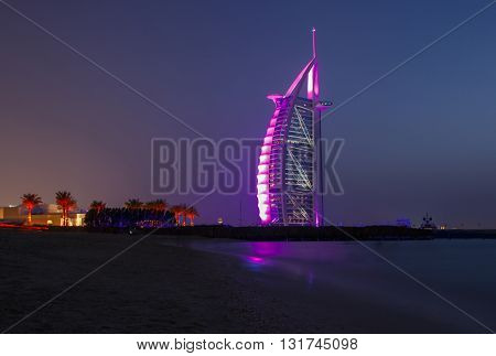 DUBAI, UAE - MAY 12, 2016: Burj Al Arab at night