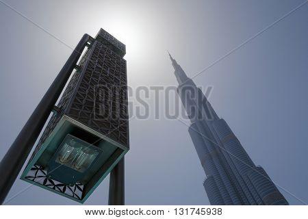 DUBAI, UAE - MAY 11, 2016:  view on lantern and skyscraper in Dubai