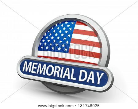 Emblem icon or button with american flag represents Memorial Day isolated on white background three-dimensional rendering 3D illustration