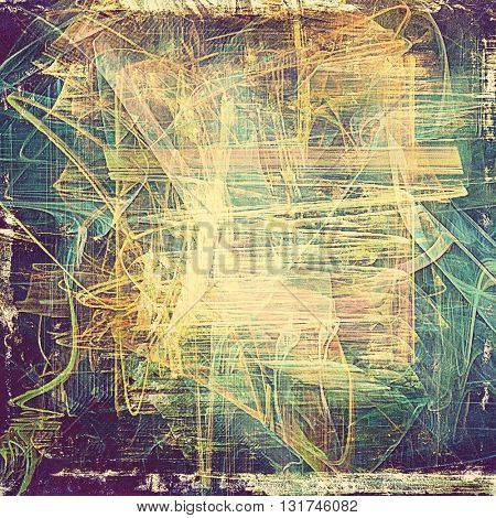 Decorative vintage texture or creative grunge background with different color patterns: yellow (beige); brown; green; blue; purple (violet); cyan