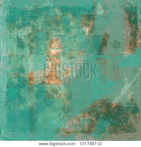 Colorful grunge texture or background with vintage style elements and different color patterns: yellow (beige); brown; gray; blue; cyan
