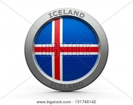 Emblem - Flag of Iceland - isolated on white three-dimensional rendering 3D illustration