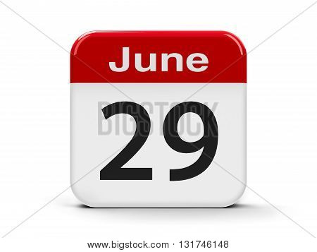 Calendar web button - The Twenty Ninth of June three-dimensional rendering 3D illustration