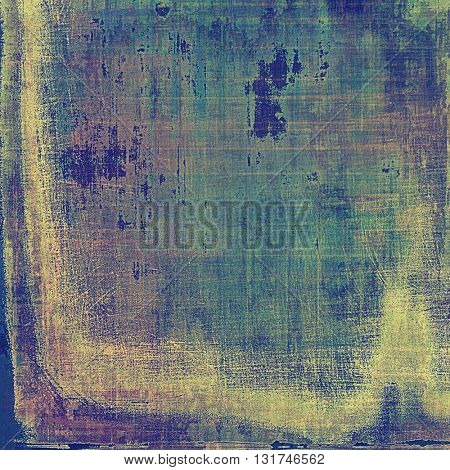 Vintage style background with ancient grunge elements. Aged texture with different color patterns: yellow (beige); green; blue; purple (violet); cyan