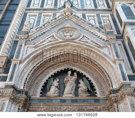 FLORENCE, ITALY - JUNE 05: Portal on the side-wall of Cattedrale di Santa Maria del Fiore (Cathedral of Saint Mary of the Flower), Florence, Italy on June 05, 2015