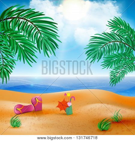 Vector beach landscape with a sky-blue ocean, golden sands and palm trees