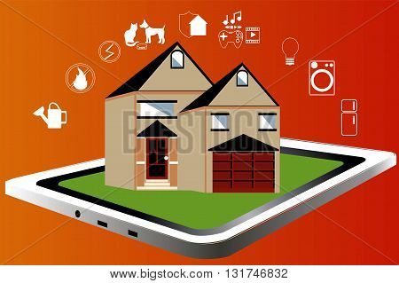 Smart home. Smart house. Flat Illustration with thin line icons. Vector illustration. Smart Technology.