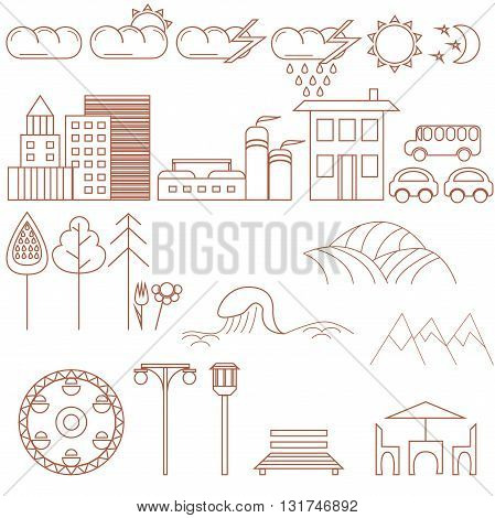 City design elements. Thin line flat vector illustration for making maps, infographics, games