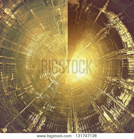 Spherical vintage style background with ancient grunge elements. Aged texture with different color patterns: yellow (beige); brown; gray