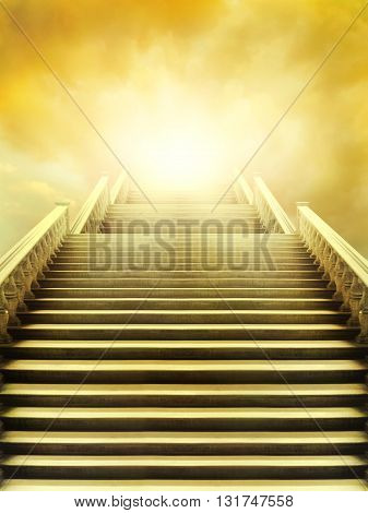 Beautiful staircase that leads to the very bright sky