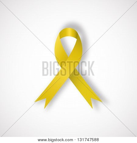 Yellow awareness ribbon on white background. Bone cancer and troops support symbol. Vector illustration.