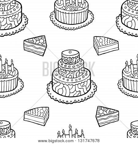 Seamless pattern with hand drawn cakes on white background. Vector illustration.