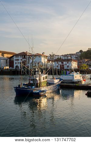 Fishing Boats In Saint-jean De Luz Harbour. Aquitaine, France.