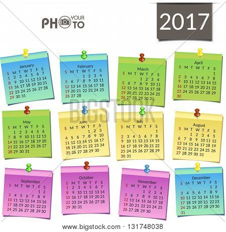 Calendar 2017. Week starts from Sunday. Vector flat design template