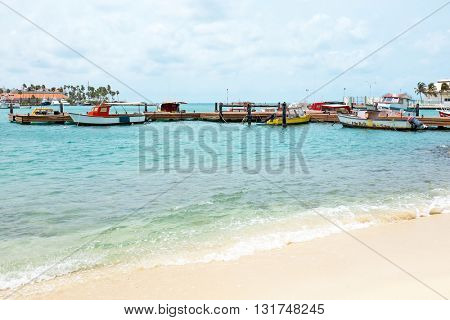 Harbor on Aruba island in the Caribbean