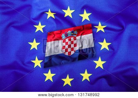 Flags of the Croatia and the European Union. Croatia Flag and EU Flag.Flag. Flag inside stars. World flag money concept.
