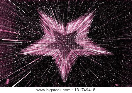 SPEED EFFECT , BLURRY PINK STAR ON BLACK BACKGROUND