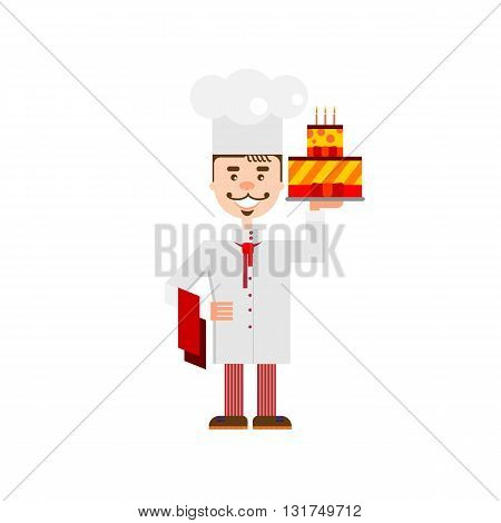 Handsome chef with birthday cake isolated at white background. Flat character of confectioer for bakery shop, cafe or web site.