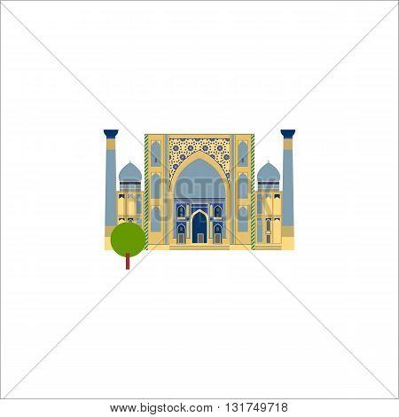 Muslim temple flat vector icon. Religios symbol of muslim landmark.