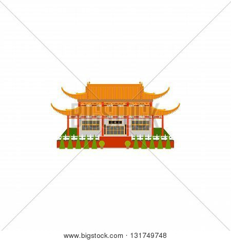 Buddhist temple. Vector illustration of Pagoda. China pagoda flat icon.