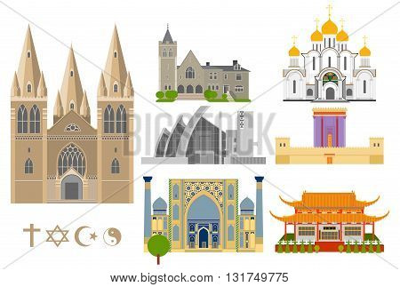 Cathedrals and churches vector infographic set. Religious signs collection. Famous Cathedrals flat icons.